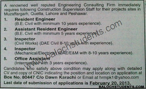Job Post Vacant In Engineering Consulting Firm