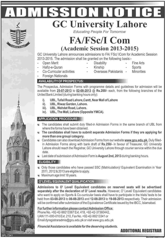 Admissions in GC University Lahore