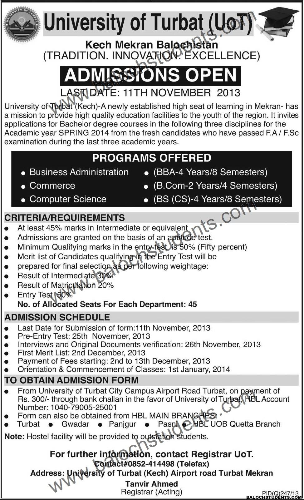 University Of Turbat- Admission Notice