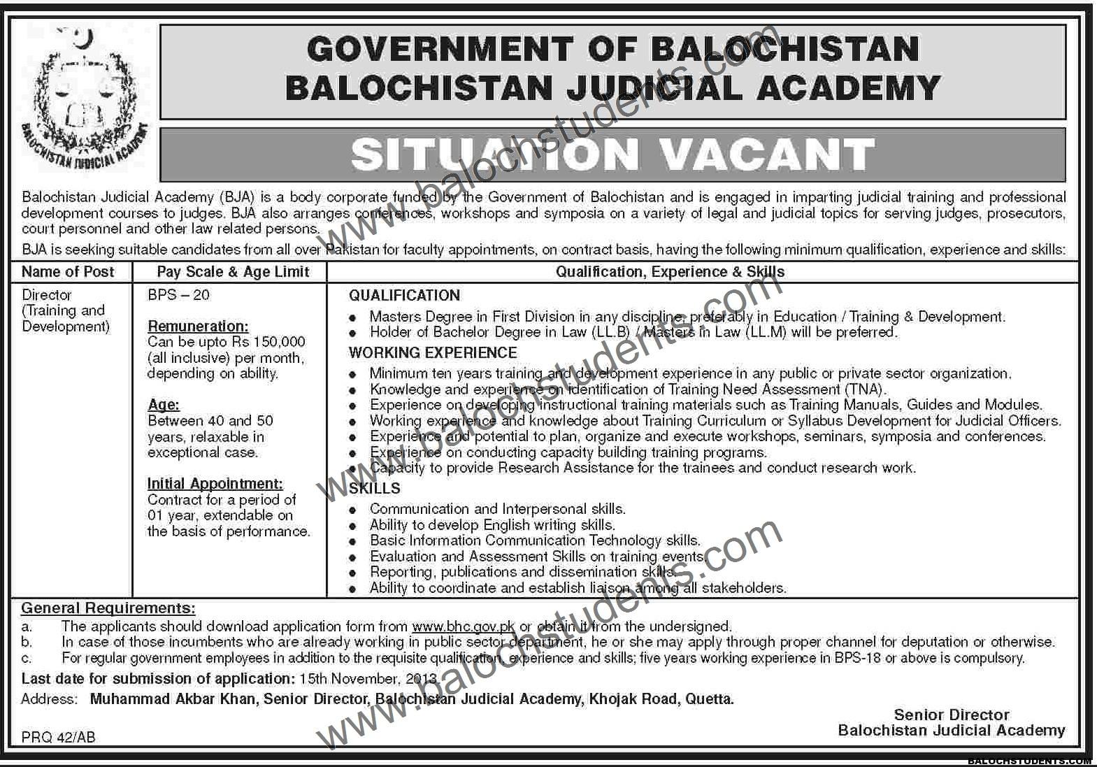 Balochistan Judicial Academy Situation Vacant
