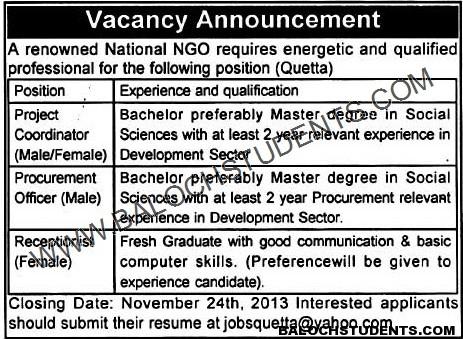 Balochistan NGO Jobs