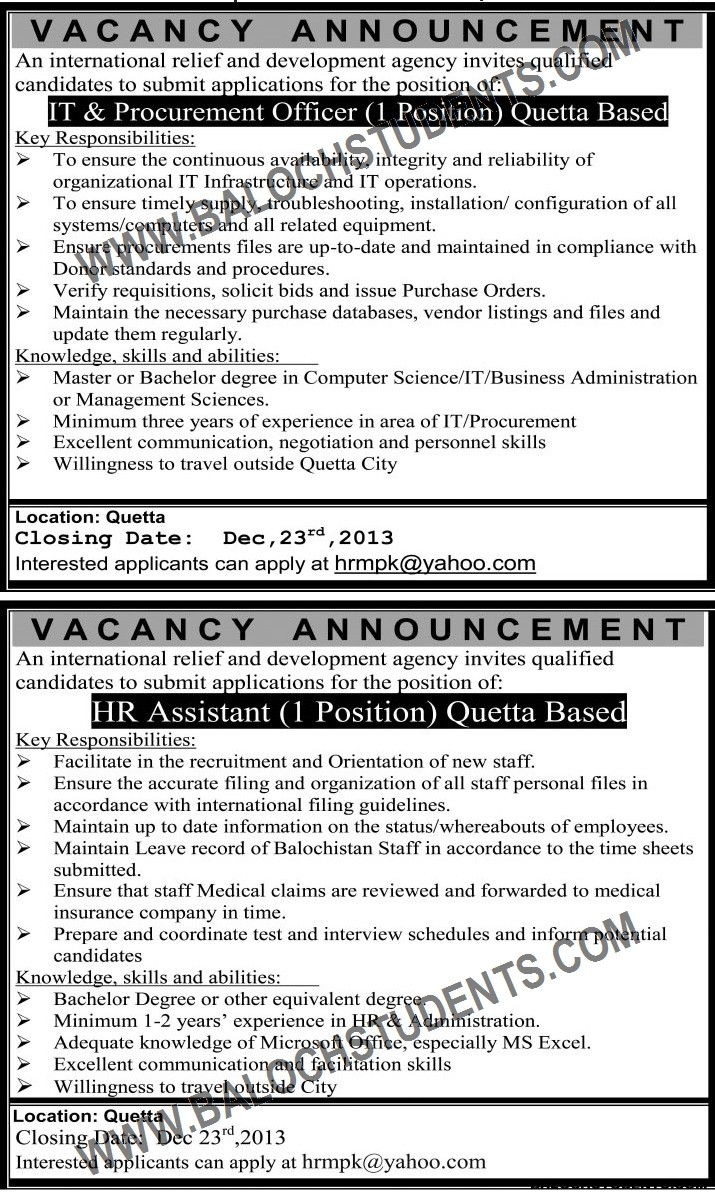 Balochistan Vacancy Announcement