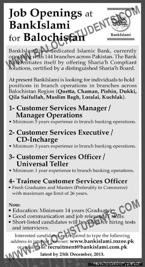 Jobs Openings at Bank Islami For Balochistan
