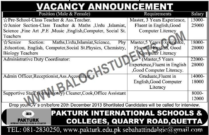 Vacancy Announcement- Pakturk Schools & Colleges Quetta