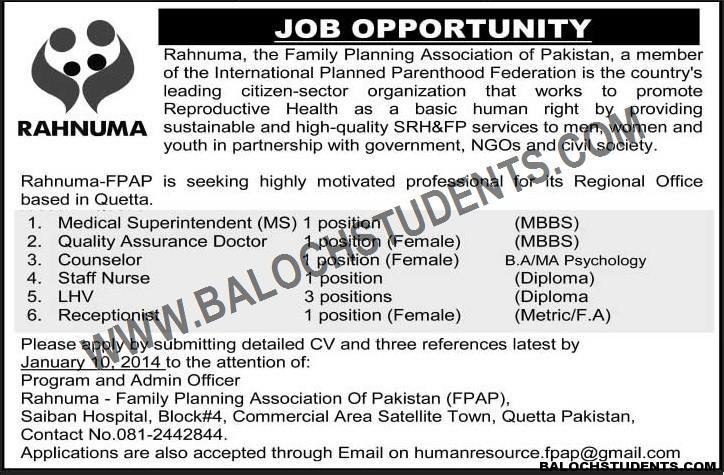 Rahnuma Jobs Opportunity