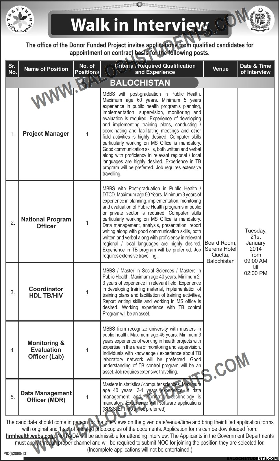 Walk in Interview- The Office of the Donor Funded Project, Balochistan