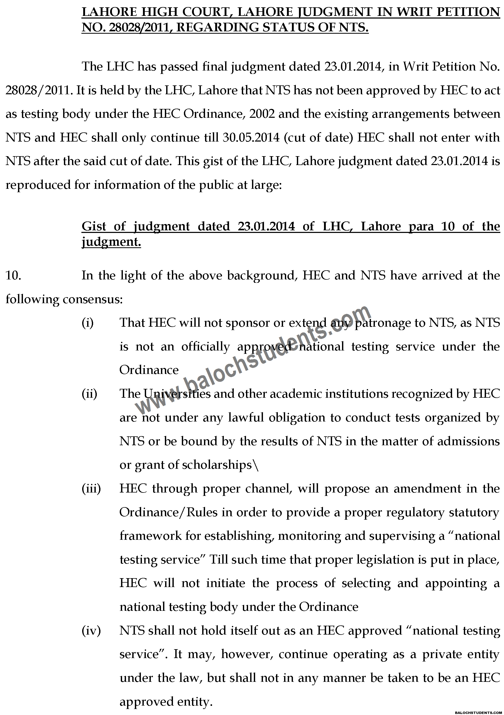Gist of LHC Judgement in WP 28028 of 2011