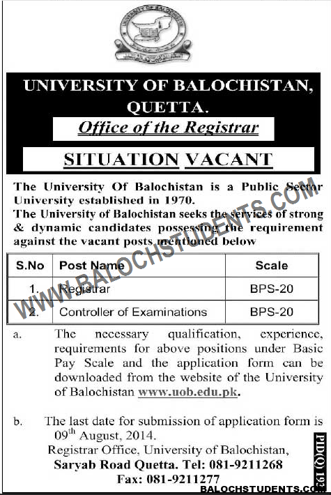 Jobs University of Balochistan