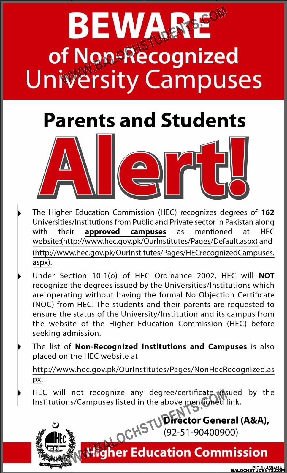 HEC Approved University Notice
