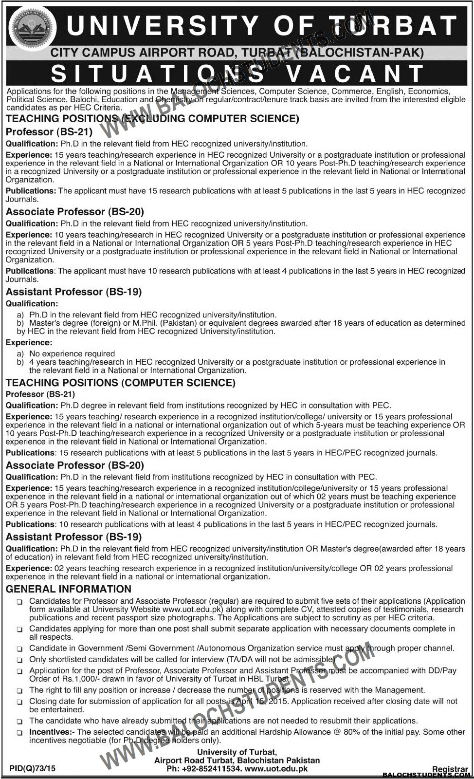 Jobs- University of Turbat