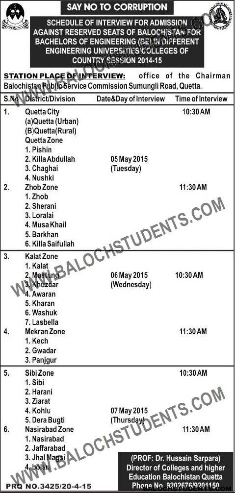 Bachelors of Engineering in Different Universities of the Country (Reserved Seats)
