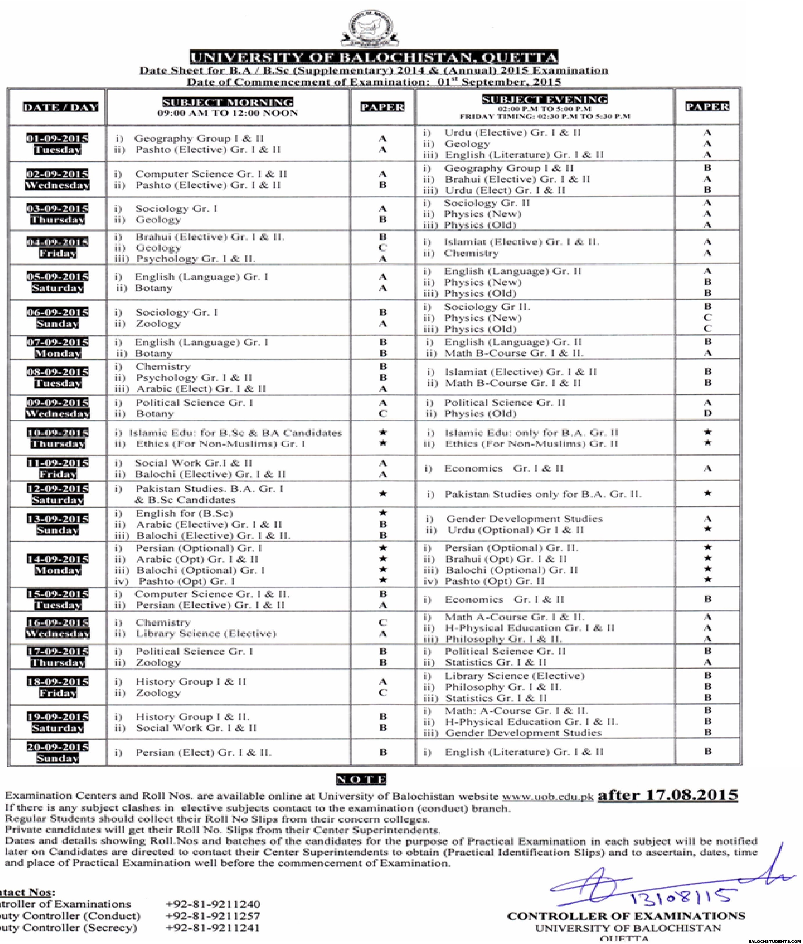 Date Sheet of BA-B.Sc Examination