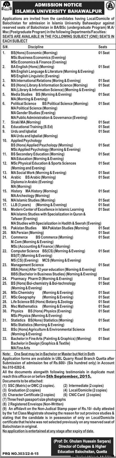 Islamia University Bahawalpur- Admission For Balochistan