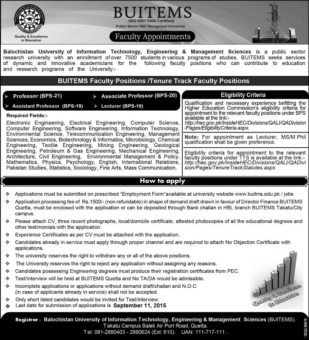 Jobs Opportunities BUITEMS Balochistan