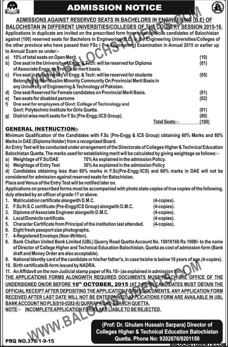 Admission Notice B.E Directorate of Colleges & Higher Education