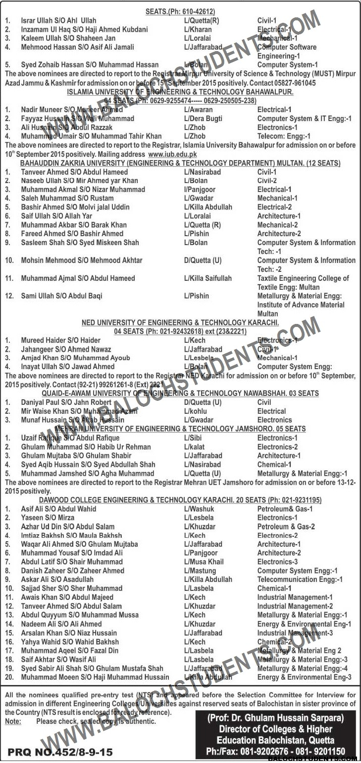 Result Announced- Bachelors of Engineering in Different Universities of the Country (Reserved Seats) (2)