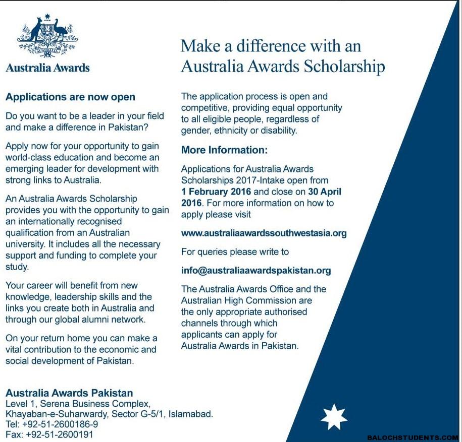 Australia Scholarships 2016