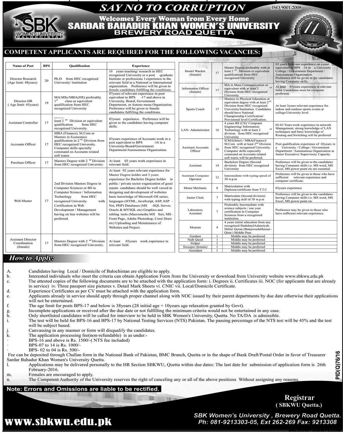 SBK Women University Balochistan Jobs