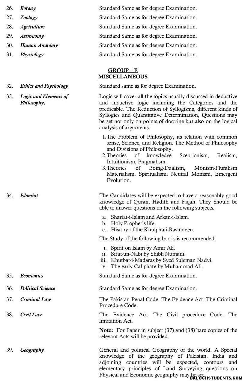 PSC Syllabus – BalochStudents com